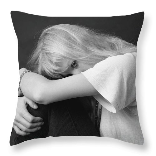 Blonde Throw Pillow featuring the photograph Timid by Murray Bloom