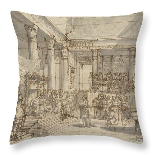 Throw Pillow featuring the drawing Timotheus Playing The Lyre Before Alexander And Tha?s In The Hall Of The Palace At Persepolis by Pietro Fancelli