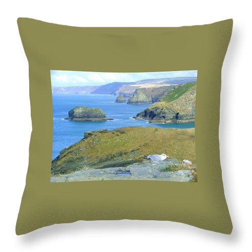 Cornwall Throw Pillow featuring the photograph Tintagel by Heather Lennox