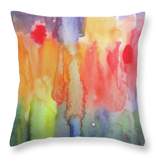 Abstract Throw Pillow featuring the painting Tiptoe by Bonny Butler