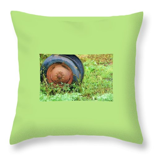 Tire Throw Pillow featuring the photograph Tired by Debbi Granruth