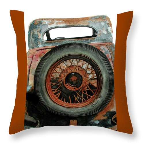 Car Throw Pillow featuring the painting Tired by Ferrel Cordle
