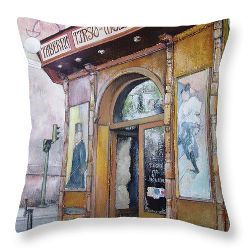 Tirso Throw Pillow featuring the painting Tirso De Molina Old Tavern by Tomas Castano