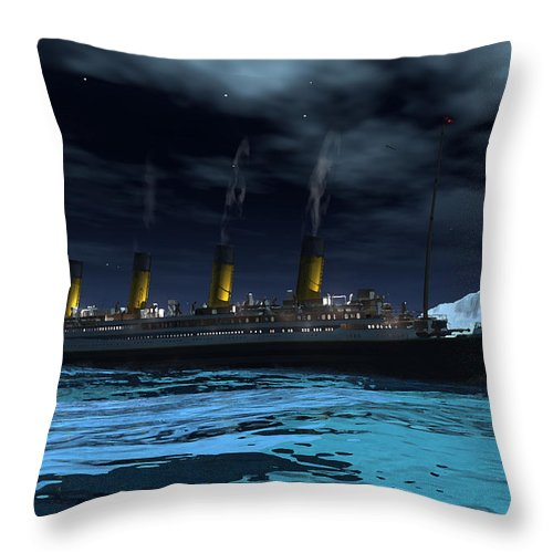 Titanic Unsinkable Molly Brown 1912 Whitestar Ocean Liners Icebergs Shipwrecks Throw Pillow featuring the digital art Titanic by Steven Palmer