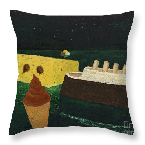 Titanic Throw Pillow featuring the painting Titanic's Birthday by Oleg Konin