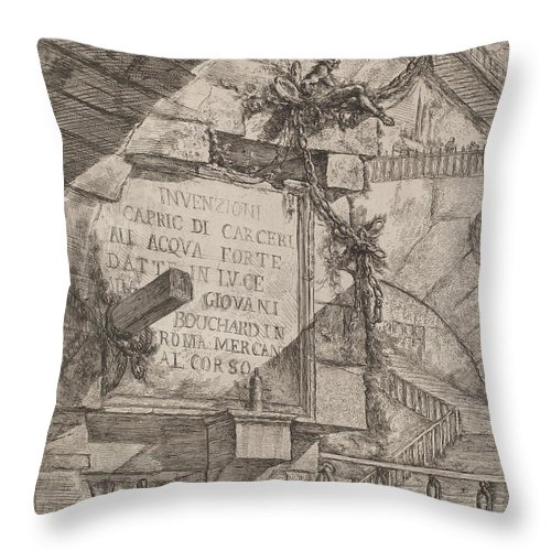Throw Pillow featuring the drawing Title Plate by Giovanni Battista Piranesi
