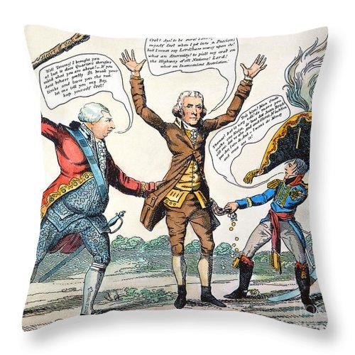 1807 Throw Pillow featuring the photograph T.jefferson Cartoon, 1809 by Granger