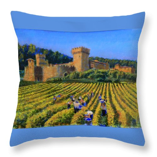 Castle Throw Pillow featuring the painting To Beat The Weather by David Zimmerman