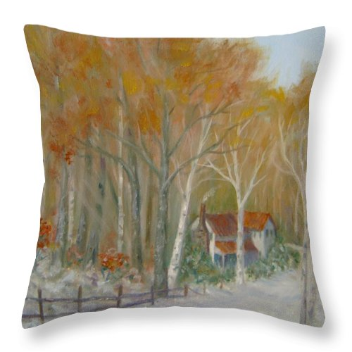 Country Road; House; Snow Throw Pillow featuring the painting To Grandma's House by Ben Kiger