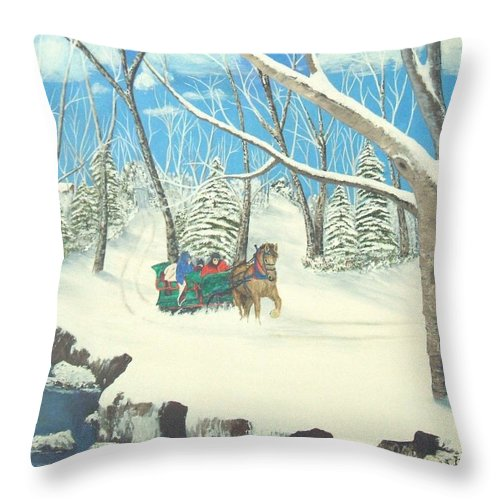 Snow Throw Pillow featuring the painting to Grandmothers House by Brandy House