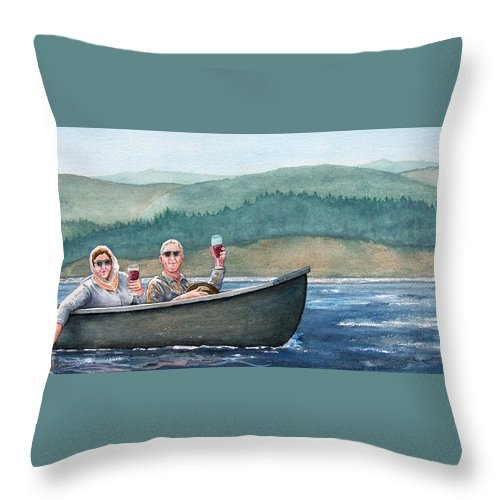 Canoe Throw Pillow featuring the painting To Life by Gale Cochran-Smith