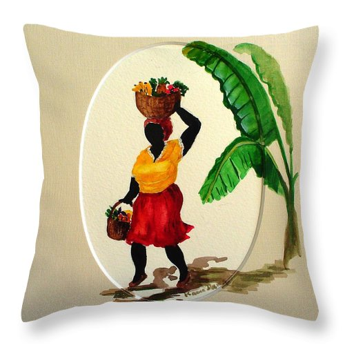 Caribbean Market Womanfruit & Veg Throw Pillow featuring the painting To Market by Karin Dawn Kelshall- Best