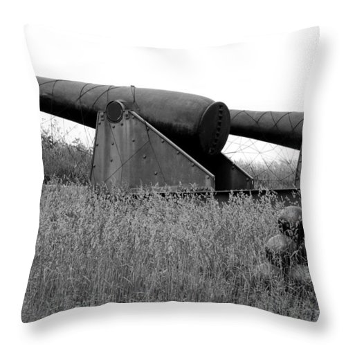 Cannon Throw Pillow featuring the photograph To Protect And Serve by Greg Fortier