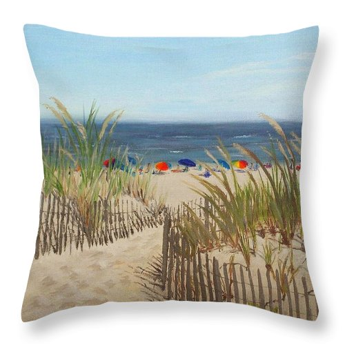 Beach Throw Pillow featuring the painting To the Beach by Lea Novak