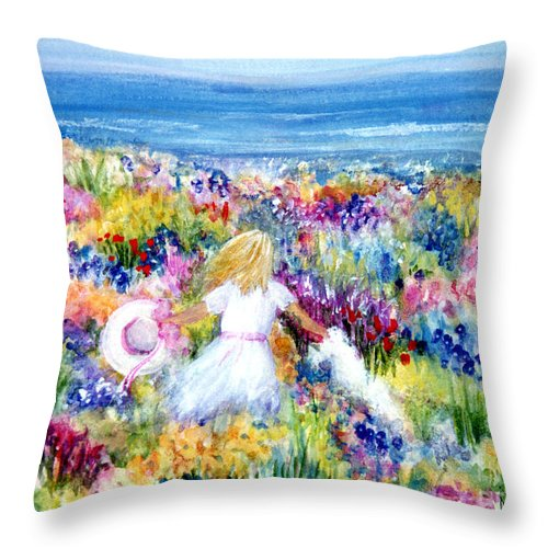 Beach Throw Pillow featuring the painting To The Beach by Pamela Parsons