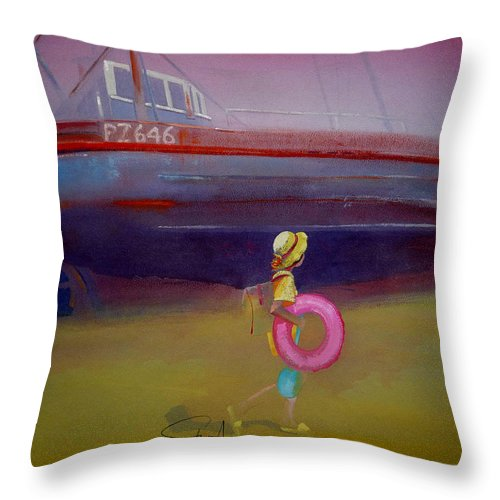Penzance Throw Pillow featuring the painting To The Lighthouse by Charles Stuart