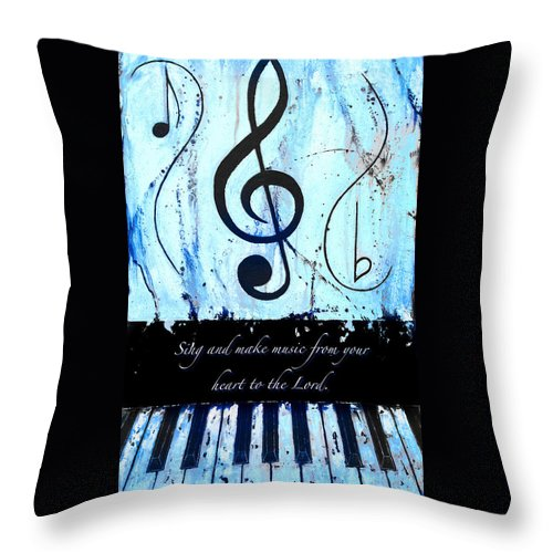 To The Lord - Blue Throw Pillow featuring the mixed media To The Lord - Blue by Wayne Cantrell