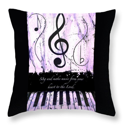 To The Lord - Purple Throw Pillow featuring the mixed media To The Lord - Purple by Wayne Cantrell