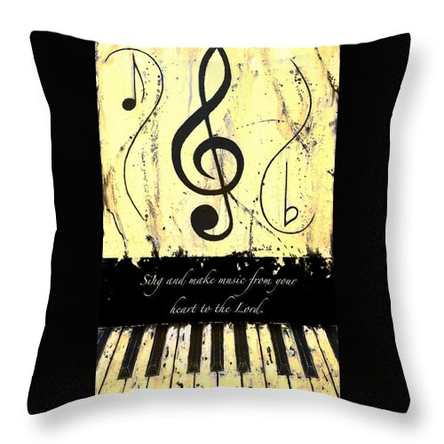 To The Lord - Yellow Throw Pillow featuring the mixed media To The Lord - Yellow by Wayne Cantrell