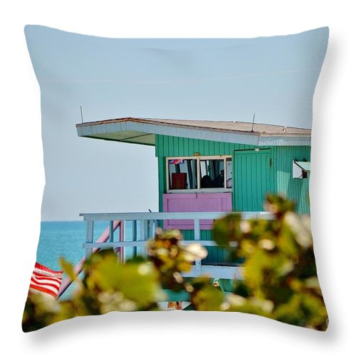 Lifeguard Stand Throw Pillow featuring the photograph To The Rescue 10 by Rene Triay Photography