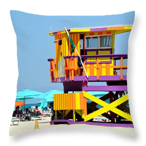 Miami Beach Throw Pillow featuring the photograph To The Rescue 5 by Rene Triay Photography