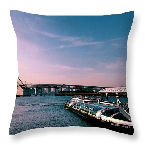 Landscape Throw Pillow featuring the photograph To the space from sea by Momoko Sano