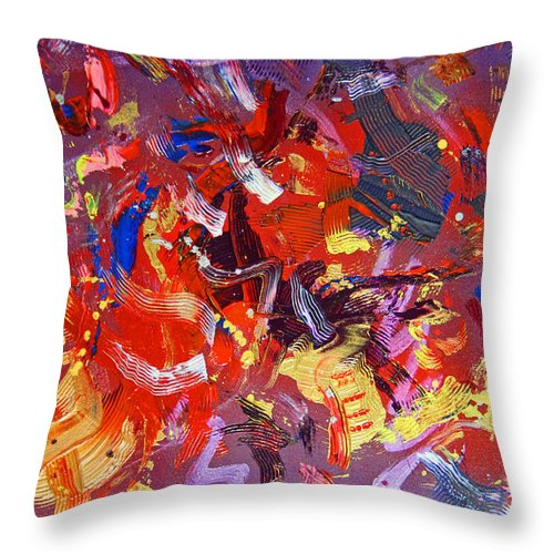 Abstract Throw Pillow featuring the painting To Voice by Robert W Dunlap