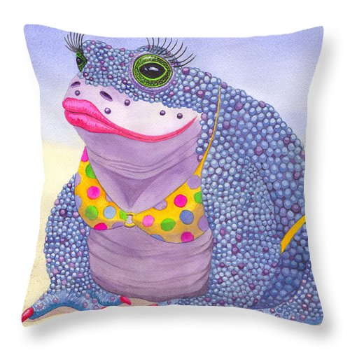 Toad Throw Pillow featuring the painting Toadaly Beautiful by Catherine G McElroy