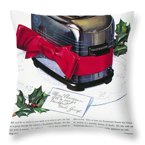 1937 Throw Pillow featuring the photograph Toaster Ad, 1937 by Granger