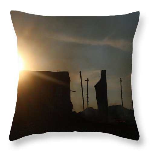 Tobacco Throw Pillow featuring the photograph Tobacco Barn Fire I Silhouette by Angela Comperry