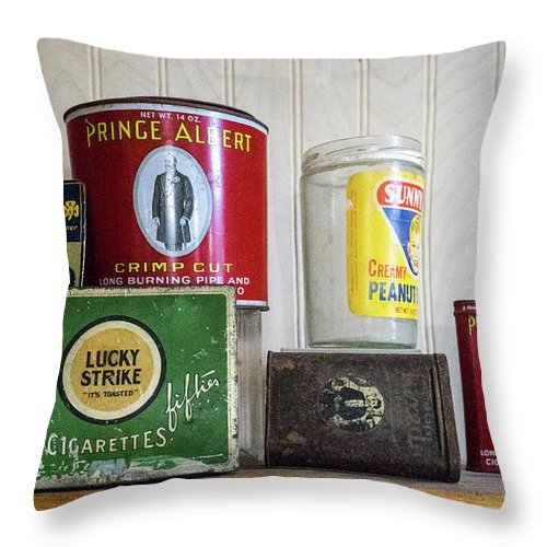 Tobacco Throw Pillow featuring the photograph Tobacco Coffee and Peanut Butter by Douglas Barnett