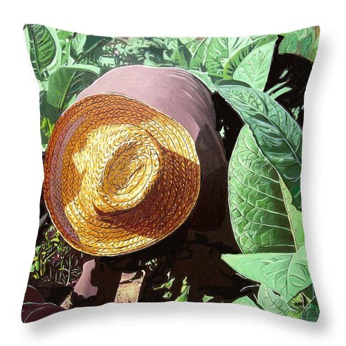 Tobacco Throw Pillow featuring the painting Tobacco Picker by Jose Manuel Abraham
