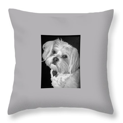 Dogs Throw Pillow featuring the painting Toby by Portraits By NC
