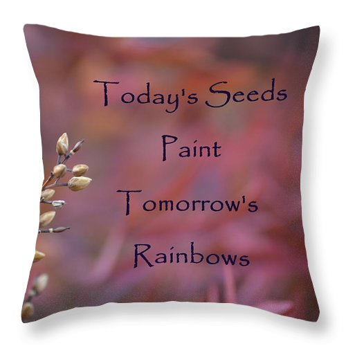 Red Throw Pillow featuring the photograph Todays Seeds Paint Tomorrows Rainbows by Mark Bell