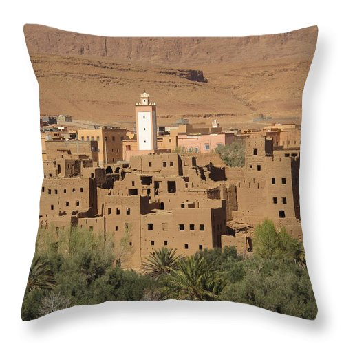 Todra Oasis Throw Pillow featuring the photograph Todra Oasis by Cindy Kellogg