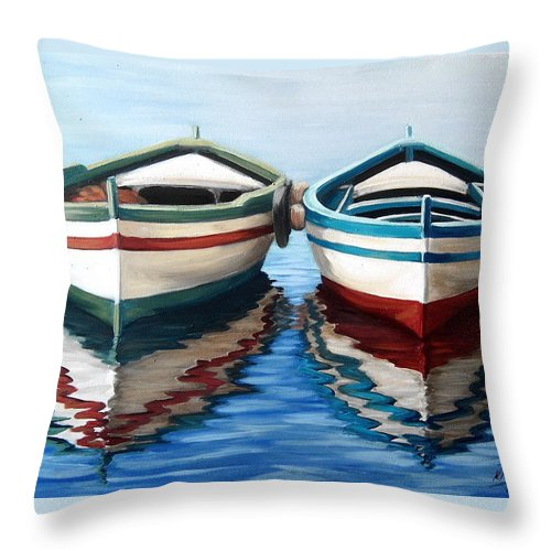 Seascape Sea Boat Reflection Water Ocean Throw Pillow featuring the painting Together by Natalia Tejera