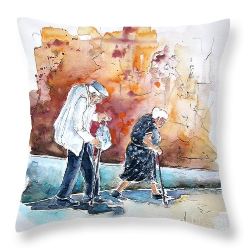 Portugal Paintings Throw Pillow featuring the painting Together Old in Portugal 01 by Miki De Goodaboom