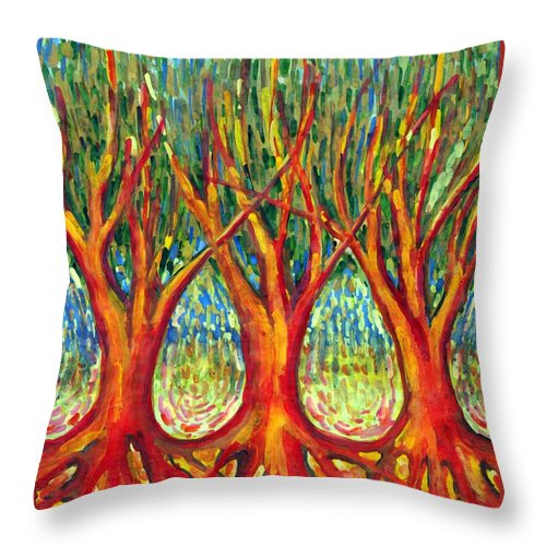 Colour Throw Pillow featuring the painting Together by Wojtek Kowalski