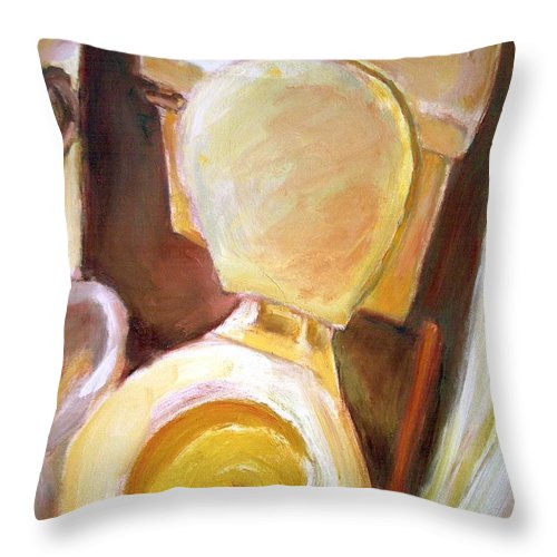 Dornberg Throw Pillow featuring the painting Toilet Of Course by Bob Dornberg