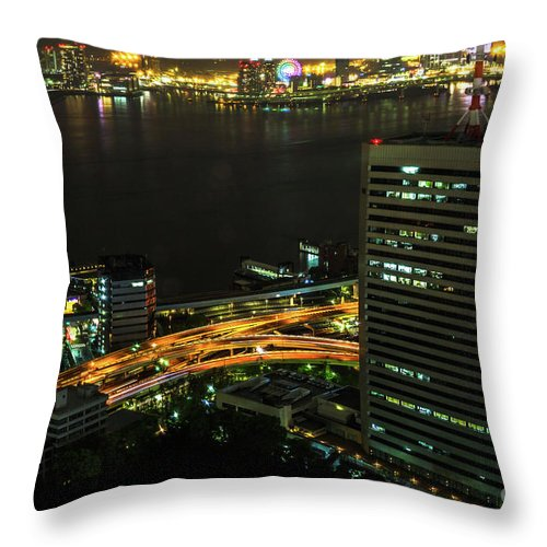 Tokyo Skyline Throw Pillow featuring the photograph Tokyo Bay Area Skyline by Benny Marty