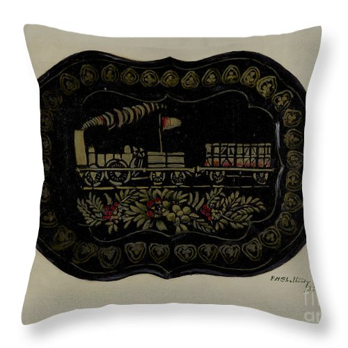 Throw Pillow featuring the drawing Toleware Tin Tray by Eugene Shellady