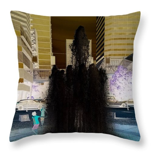 Invert Throw Pillow featuring the photograph Tom Mccall Waterfront Fountain by Melissa Coffield