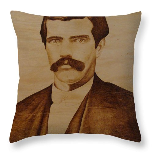Pyrography; Woodburning; Sepia; Old West; Sheriff; Throw Pillow featuring the pyrography Tom Smith by Jo Schwartz