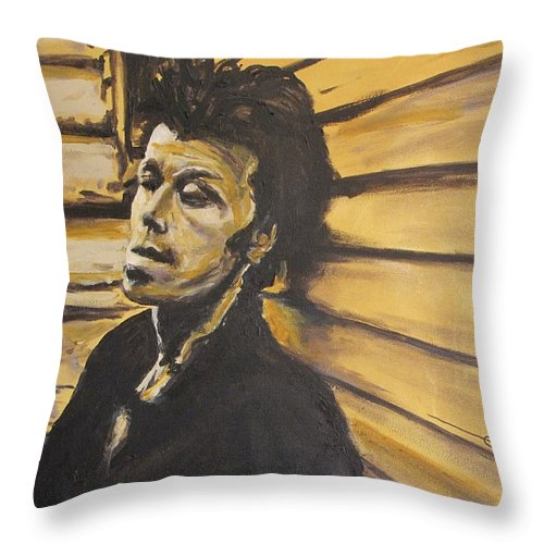 Tom Waits Throw Pillow featuring the painting Tom Waits by Eric Dee