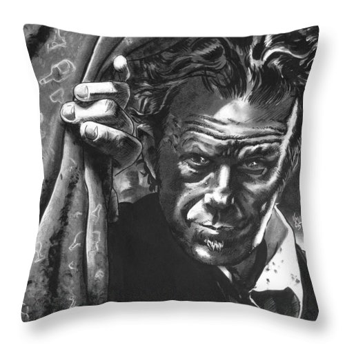 Musicians Throw Pillow featuring the drawing Tom Waits by Ken Meyer jr