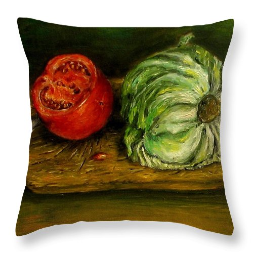 Tomatoes Throw Pillow featuring the painting Tomato And Cabbage Oil Painting Canvas by Natalja Picugina