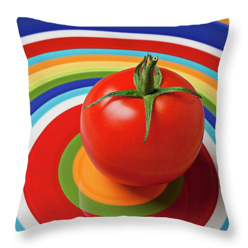 Tomato Plate Circle Food Fruit Throw Pillow featuring the photograph Tomato On Plate With Circles by Garry Gay