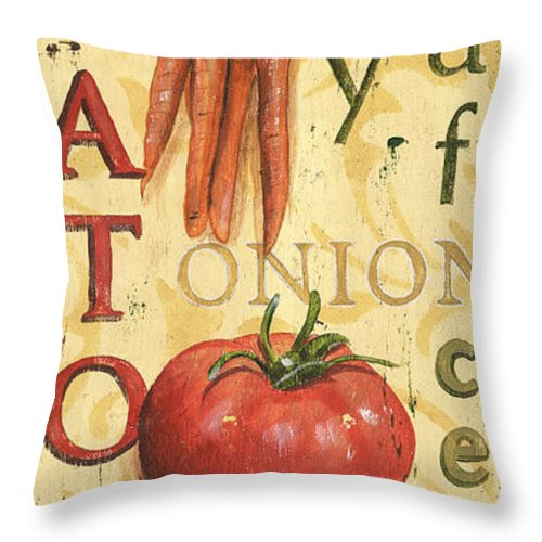 Kitchen Throw Pillow featuring the painting Tomato Soup by Debbie DeWitt
