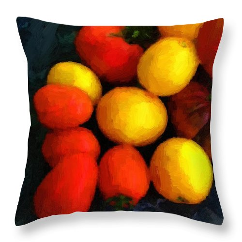 Tomatoes Throw Pillow featuring the painting Tomatoes Matisse by RC DeWinter