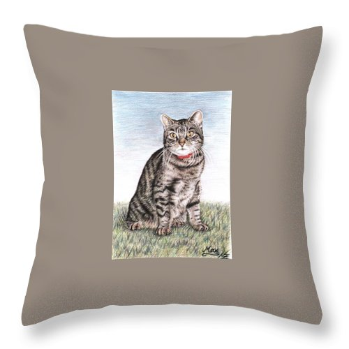 Cat Throw Pillow featuring the drawing Tomcat Max by Nicole Zeug